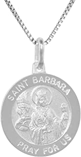 Sterling Silver St Barbara Medal Necklace 3/4 inch Round Italy 0.8mm Chain