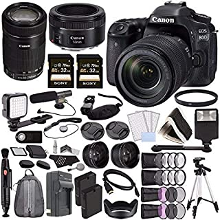 Canon EOS 80D DSLR Camera with 18-135mm Lens + Canon EF-S 55-250mm f/4-5.6 is STM Lens + Canon EF 50mm f/1.8 STM Lens + So...