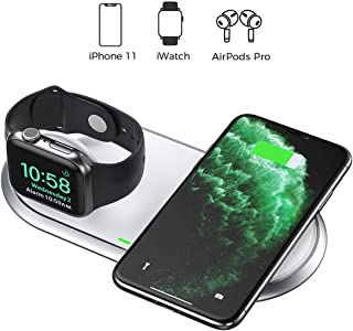 CHOETECH 2 in 1 Dual Wireless Charger (MFI Certified), Wireless Charging Pad Foldable Apple Watch Charging Station Compatible iWatch 5/4/3/2,iPhone SE 2020/11/11 Pro Max/XS/X,Airpods (No AC Adapter)