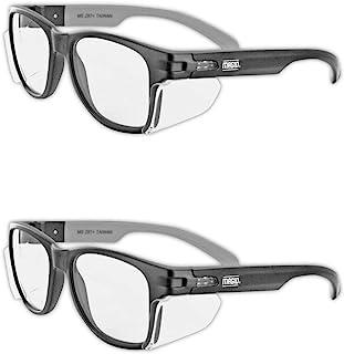 شیشه های ایمنی سری MAGID Y50BKAFC Iconic Y50 Series با محافظ جانبی | ANSI Z87 + عملکرد ، ضد خش و مقاوم در برابر مه ، راحت و شیک ، مورد پارچه ، لنزهای پاک (2 جفت)