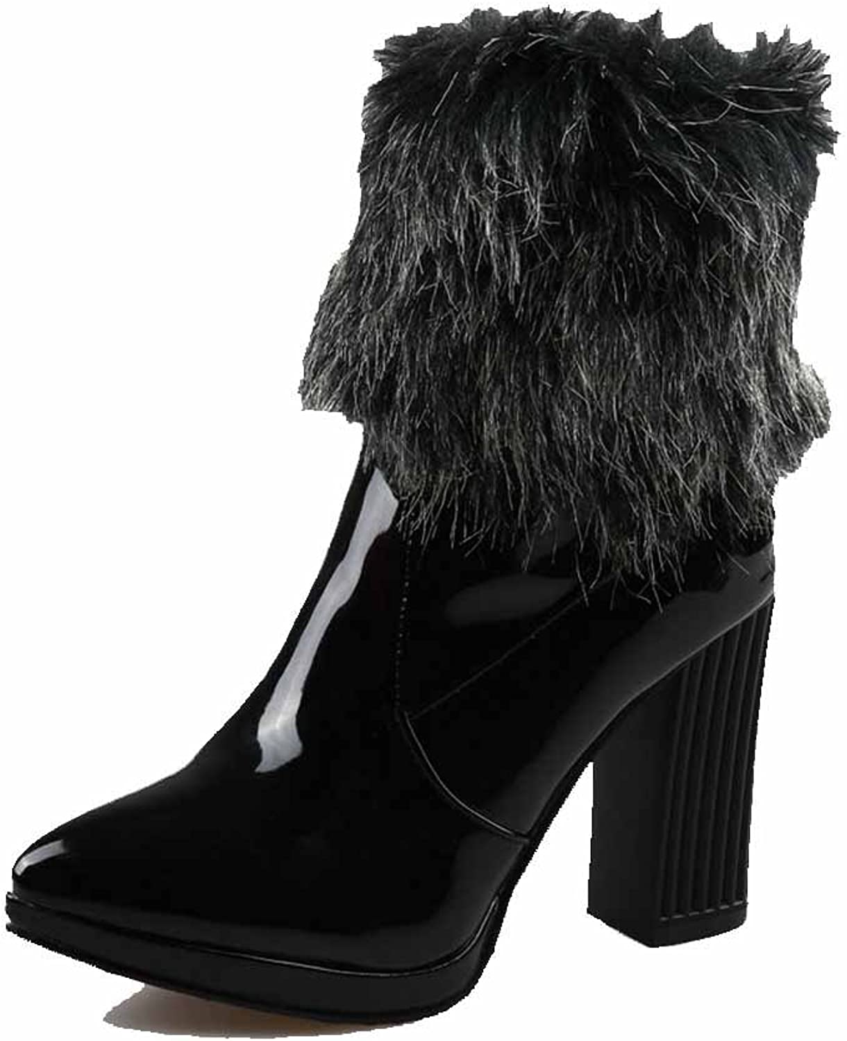 AllhqFashion Women's High-Heels Patent Leather Low-top Solid Pull-on Boots