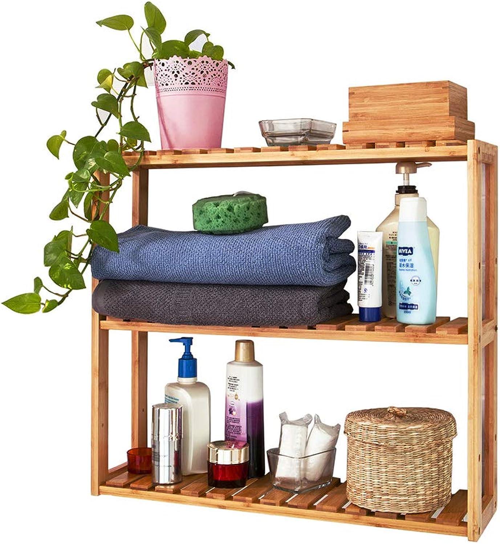 Trustiwood Bamboo Bathroom Shelf Adjustable 3-Tier Multifunctional Layer Rack Bathroom Kitchen Living Room Holder Wall Mounted Storage Organizer Standing Shelf