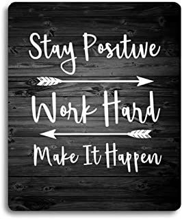 Wknoon Stay Positive Work Hard and Make It Happen Inspirational Quotes Mouse Pad Custom, Motivational Quote Rustic Black O...