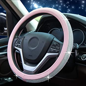 Universal Sparkly Diamant Auto Lenkradabdeckung 38cm//15 Voll Bling Bling Strass Leder Lenkradabdeckung Autoinnenraum Auto Styling Dekor Zubeh/ör beige