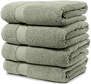 Maura 4 Piece Bath Towel Set. 2017 Premium Quality Turkish Towels. Super Soft, Plush and Highly Absorbent. Set Includes 4 Pieces of Bath Towels (Bath Towel - Set of 4, Sage Green)