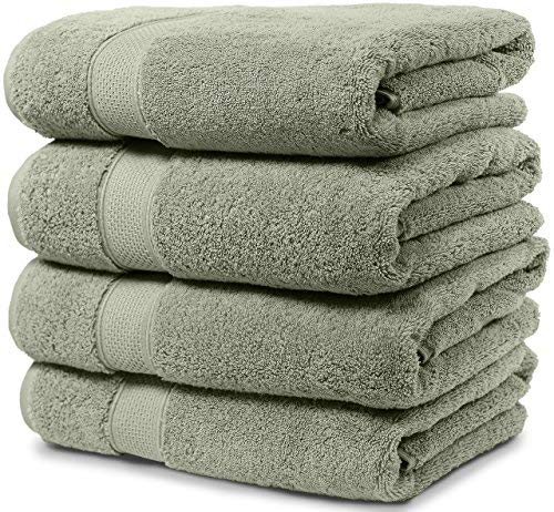 Maura 4 Piece Bath Towel Set. Extra Large 30'x56' Premium Turkish Towels. Thick, Soft, Plush and Highly Absorbent Luxury Hotel & Spa Quality Towels - Sage Green