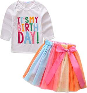 Birthday Outfit for Girl Birthday T-Shirt and Tutu Skirt Set
