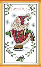 Cross Stitch Kits, Santa Claus Skating Christmas Awesocrafts Easy Patterns Cross Stitching Embroidery Kit Supplies Christmas Gifts, Stamped or Counted (Santa Claus, Stamped)