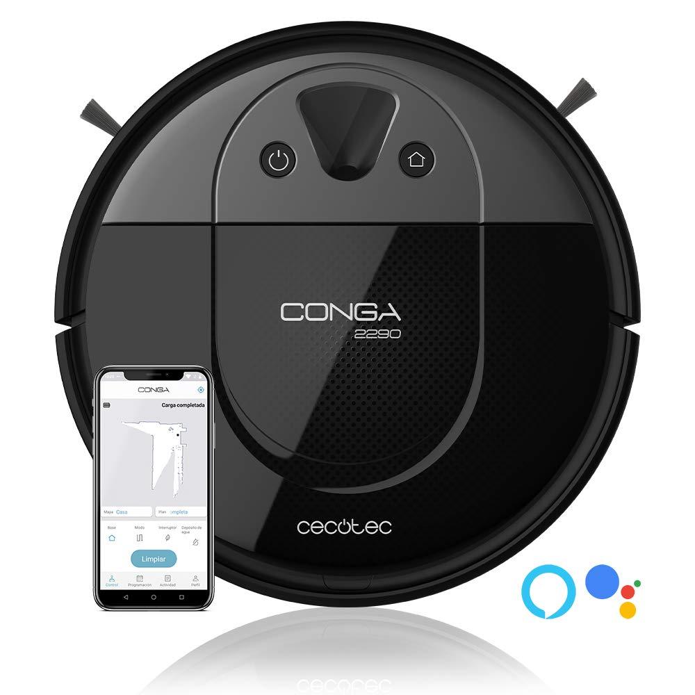 Cecotec Conga 2290 Panoramic. Robot Aspirador con tecnología iTech Camera 360, friega, aspira y Barre a la Vez, App con Mapa Interactivo, 2700 Pa, Cepillo Mascotas, Alexa & Google Assistant: Amazon.es: Hogar