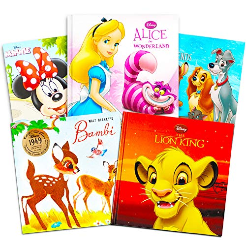 Disney Classics - Super Set of 5 Baby Toddler Storybooks (The Lion King, 101 Dalmatians, Minnie Red Riding Hood, Bambi, 3 Little Pigs)