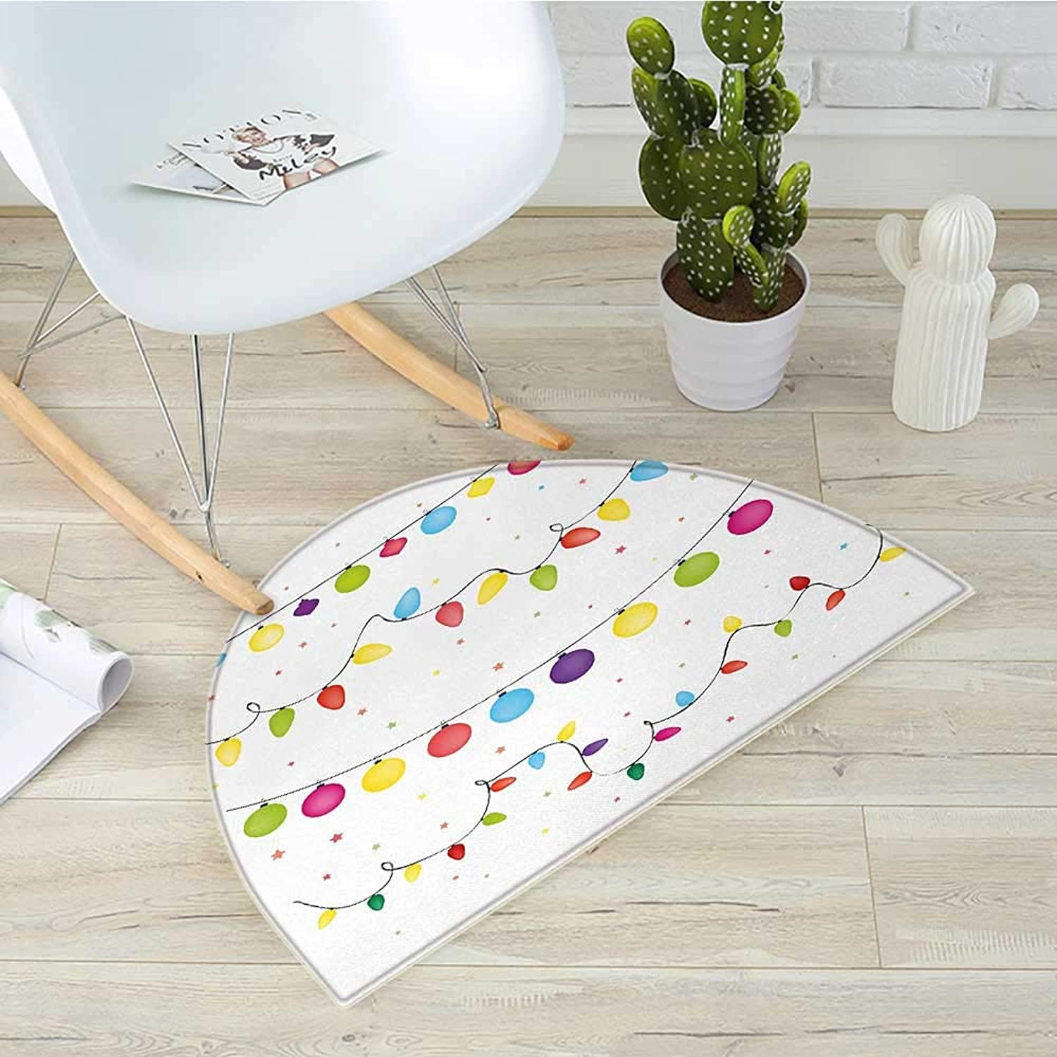 Kids Christmas Semicircular CushionPreparations for Party of The Year Theme Festive Occasion Happy Event Xmas Entry Door Mat H 39.3  xD 59  Multicolor