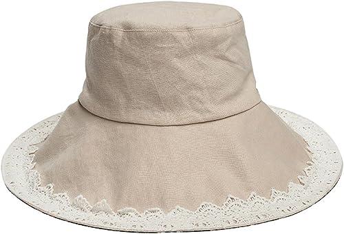 Chapeau de Soleil Femme été Voyage en Plein air Bord de la mer crème Solaire Pliant Grand de Soleil à Double Face de la Plage Coupe-Vent ZHAOSHUNLI (Couleur   Khaki)