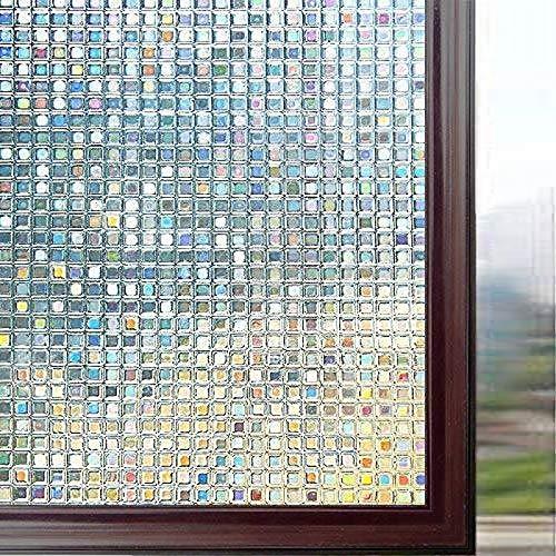 LMKJ Película de Vinilo de Vidrio estático de privacidad de película de Mosaico de arcoíris 3D, Pegatina de Ventana Anti-UV de Control de Calor A34 60x200cm