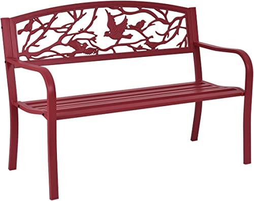 discount Giantex Patio Garden popular Bench Park Yard Outdoor Furniture Cast Iron outlet sale Porch Chair (Red) sale