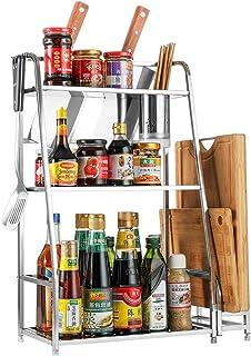 3 Couches Porte-épices Spice Rack Cuisine Organisateur Étagère Spice Porte-rangement Avec Cage De Baguettes, Rack De La Pl...