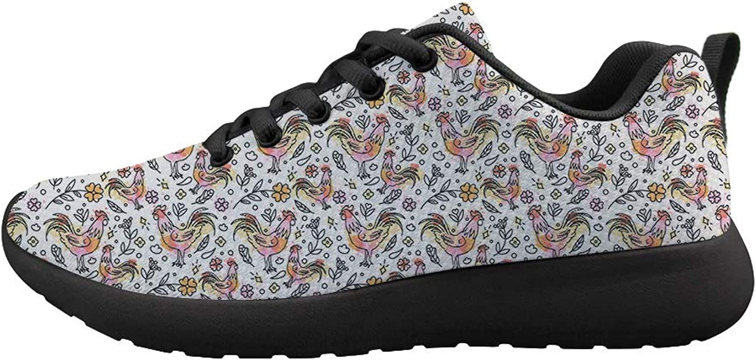 Owaheson Cushioning Sneaker Trail Running shoes Mens Womens Paint Floral Mighty Cock Rooster