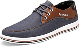 ZUAN Fashion Casual Board Shoes for Men Comfy Breathable Fabric Outdoor Operative Sneakers Anti-slip Flat Lace Up Round Toe