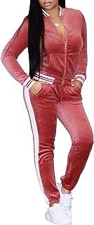 Leezeshaw Women Stitching Full Zipper Activewear 2Pcs Velvet Athletic Sweatshirts
