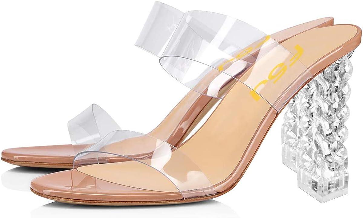 FSJ Women Clear Double Strap Mules Slip On Open Toe Sandals Transparent High Heels Shoes