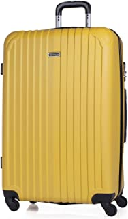 ITACA - Maleta de Viaje Grande XL Rígida 4 Ruedas Trolley 76 cm de ABS. Dura Extensible Resistente y Ligera. Gran Capacidad. Estudiante y Profesional. Candado Integrado. T71570, Color Mostaza