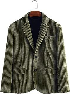 Mens Corduroy Blazer Jacket Shawl Twill Cotton Slim Fit Sport Coat 2 Button Pocket Casual Outerwear