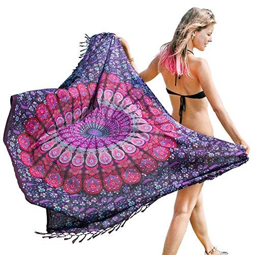 Mandala Life ART Damen Sarong, Pareo,Bikini Vertuschen, Strandtuch,Wickelrock, TapisserieWickeltuch Schal Halstuch - Hochwertiger Rayon - Weich und Leicht