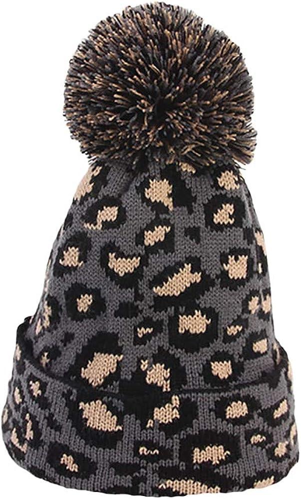 Faux Fur Ball Hat Fashion Women Knit Warm Winter Crochet Max 70% OFF Leopard Cheap bargain