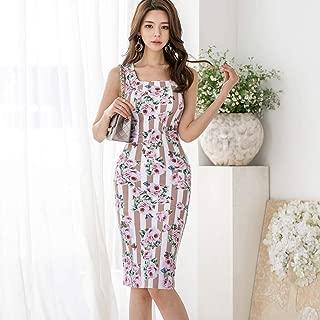ABDKJAHSDK Summer New High Quality Korean Floral Print Ladies Slim Dress