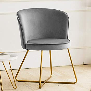 Duhome Accent Chair Vanity Chair Home OfficeMid-Century Modern Upholstered Leisure Club Dining Chairs Velvet Cushion for Living Room Bedroom Reception Area Grey 1pcs