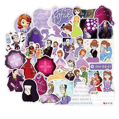 DSSJ 50 Pegatinas de Maleta de Dibujos Animados de la pequeña Princesa Sophia, Funda Impermeable para teléfono móvil, Pegatinas para Ordenador, Pegatinas para Tableta iPad