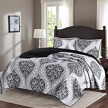 Comfort Spaces - Coco Mini Quilt Set - 3 Piece - Black and White - Printed Damask Pattern - Full/Queen size, includes 1 Quilt, 2 Shams