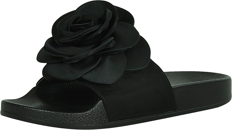 Cambridge Select Women's Flower Rose Mixed Media Open Toe Slip-On Flat Slide Sandal