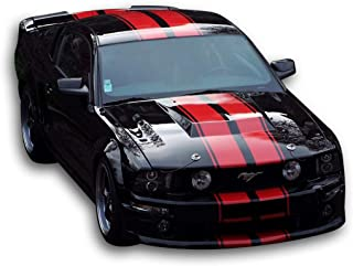 Bubbles Designs Decal Sticker Graphic Front to Back Stripe Kit Compatible with Ford Mustang GT 2005 2010 2011 2012 2014
