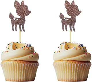 Morndew 24 PCS Gold Glitter Baby Deer Fawn Cupcake Toppers for Baby Shower Wedding Party Woodland Birthday Party Decorations