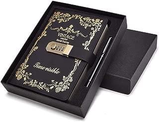 GRT 日記帳 鍵付き A5 ギフトボックス ペン付き アンティーク おしゃれ 革 手帳 カバー取り外せ可能 プレゼント 北欧系 (ブラック)