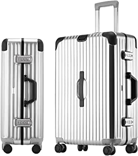 SMLCTY Hand Luggage Suitcases,ABS+PC Frame Waterproof Large Capacity Silent 4 Wheel Universal Wheel Trolley Case Password Boarding (Color : Silver, Size : 20 inch)