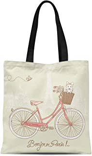 Semtomn Cotton Canvas Tote Bag Pink Cute Riding Bike in Romantic From Paris Dog Reusable Shoulder Grocery Shopping Bags Handbag Printed