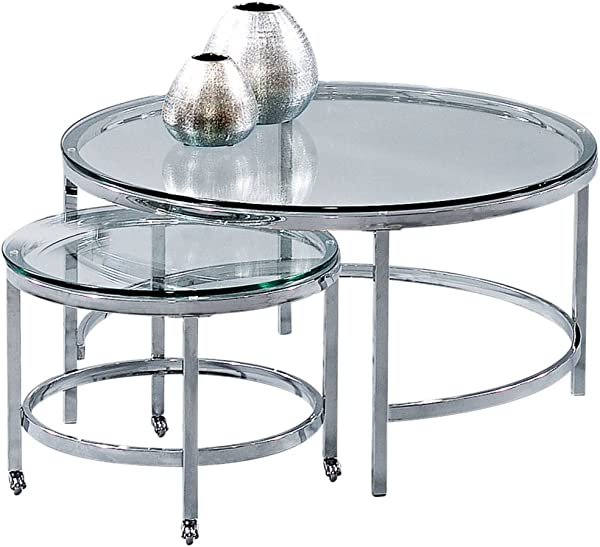 Bassett Mirror Company Bassett Mirror Patinoire Round Cocktail Table Set