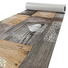Alfombra de cocina de madera, lavable, 160 x 50 cm, diseño de corazón, color marrón
