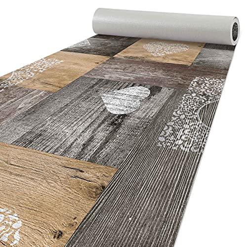 Alfombra de cocina de madera, lavable, 120 x 50 cm, diseño de corazón, color marrón