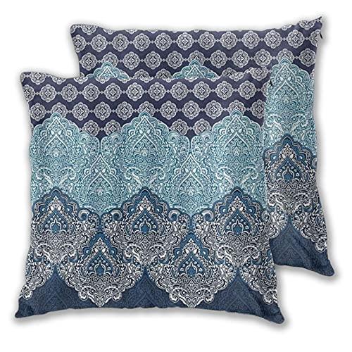 LONSANT Fundas de Cojines 45x45cm,Boho Paisley India Bohemia Azul Marino Oscuro,decoración Cuadrado Fundas de Almohada Funda de cojín para sofá Dormitorio,Pack de 2