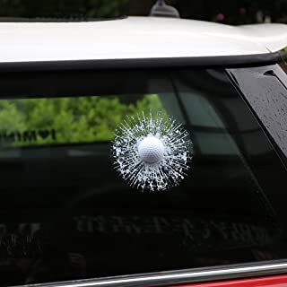 ZLTFashion 3D Prank Tricky Creative Glass Window Stickers Funny Auto Car Styling Ball Hits Car Body Window Sticker Self Adhesive Decal Accessories (White Golf)