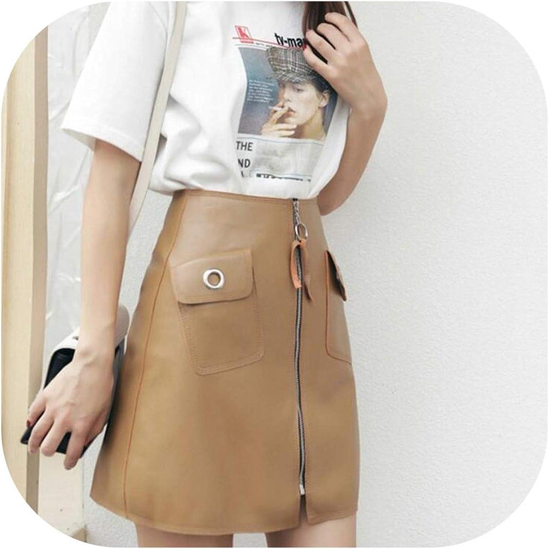 Try My Best dress Autumn Winter Womens Skirt Fashion Solid Pocket Zipper Genuine Leather Short Skirts High Waist Skirts