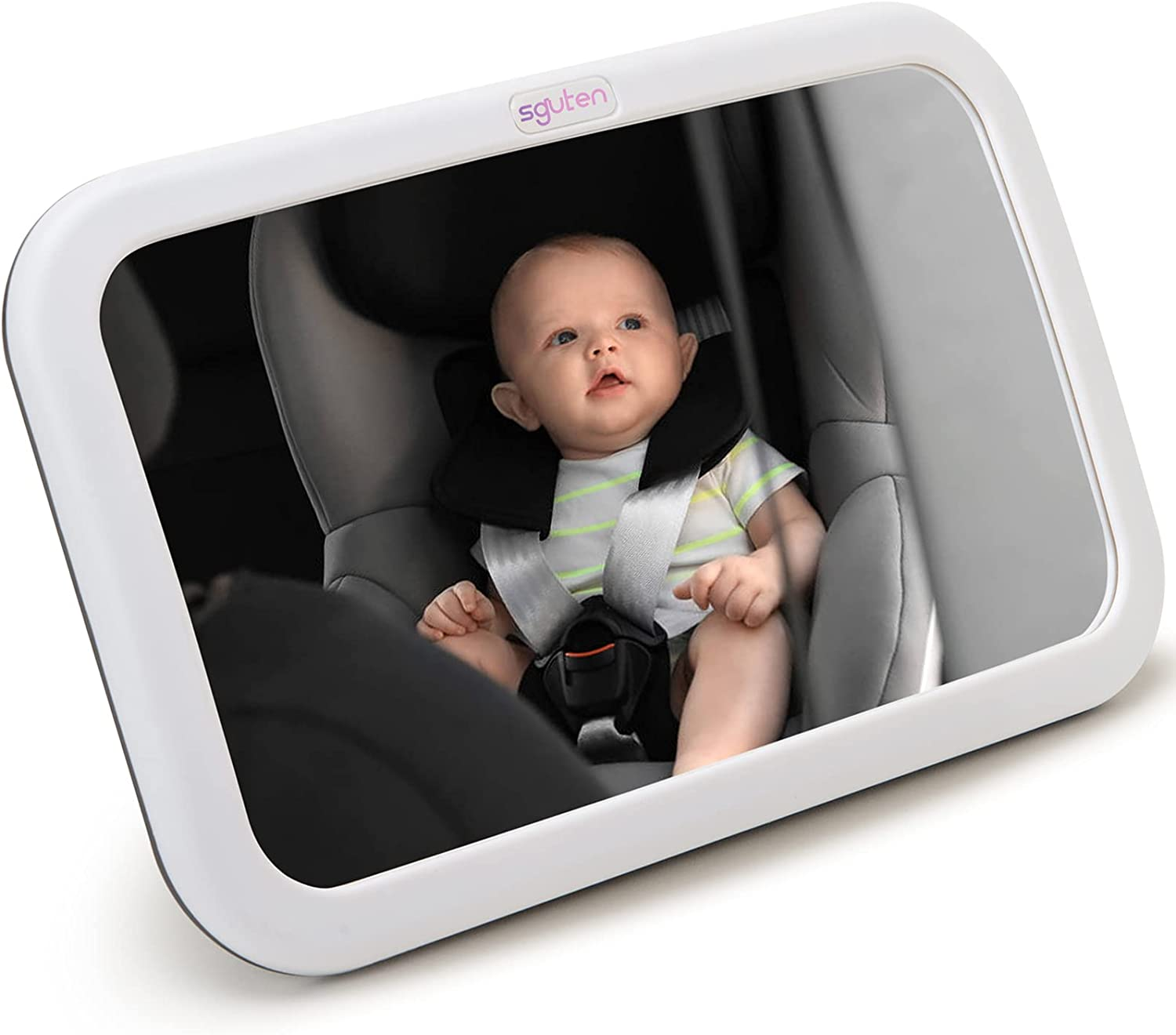SGUTEN Baby Car Mirror for Car Back Seat Full View Infant Is Portable for Mother to Observe Baby or Pet, Acrylic Car Mirror Baby Rear Facing Seat is a Detachable Large Mirror for Travel,White