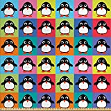 ABAKUHAUS Pinguin Gewebe als Meterware, Bunte Rahmentiere,