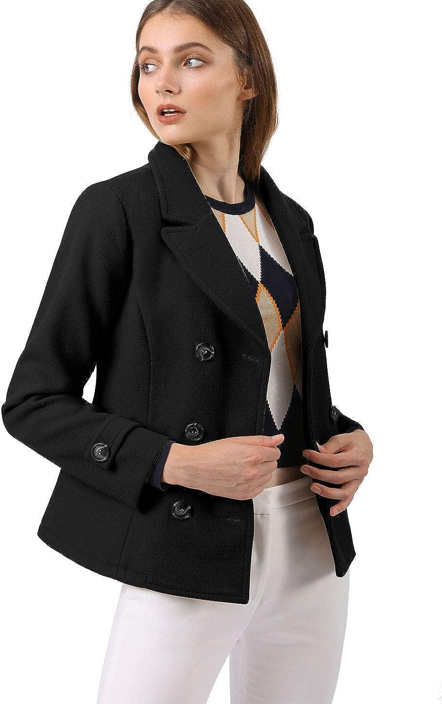 Allegra K Damen Langarm Revers Zweireiher Button Peacoat Mantel Schwarz