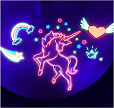 d'IRIS studio Halloween Blacklight Party Unicorn Rave Glow Tattoos-Kids UV Reactive Neon Night Toy Birthday Supplies Gift Bag Favors Game Accessories Body Decal Stickers Lunchbox Decorations Nightclub