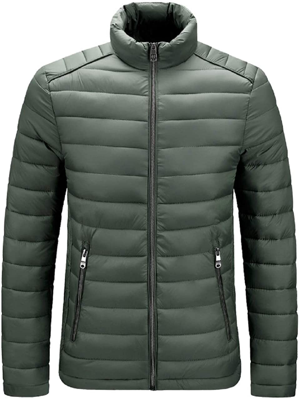 CHARTOU Men's Stand Collar Zip-Up Chevron Quilted Packable Puffer Jacket Outwear