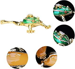YUFENG Mini Trinket Boxes Ring Holder Animal Frog Figurine Hand-Painted Patterns Enameled Jewelry Trinket Box Hinged Collectible Figurine (Mother and Child Frog)
