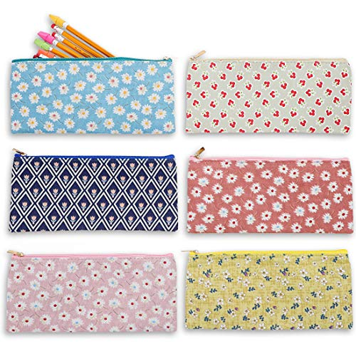 Blue Panda Cute Floral Zipper Pencil Makeup Pouch Bags, 9 x 4 Inches